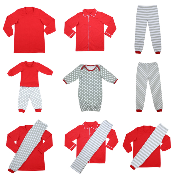 Wholesale 2016 Kids Christmas Gray Striped/Polka Dots Family Matching Pajamas