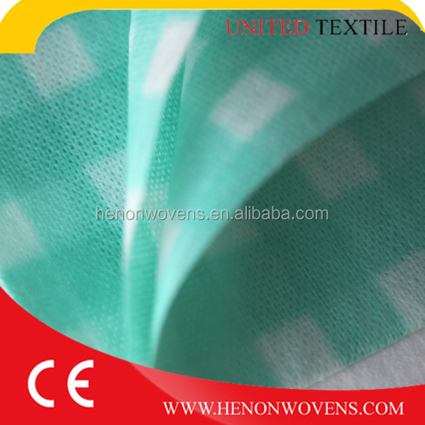 Printed grid Viscose/polyester spunlace nonwoven fabric