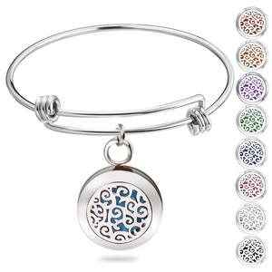 Birthday Gifts for Women, Essential Oil Diffuser Bracelet Aromatherapy Diffuser Locket Stainless Steel Bangle Jewelry for Women