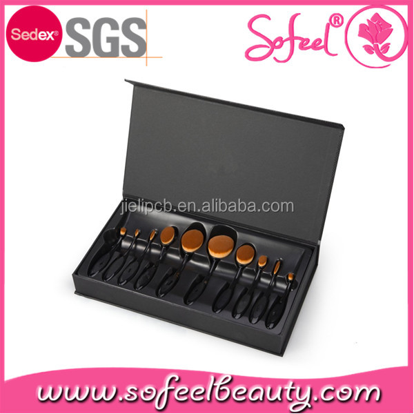 Sofeel toothbrsh style 10pcs private label oval makeup brushes