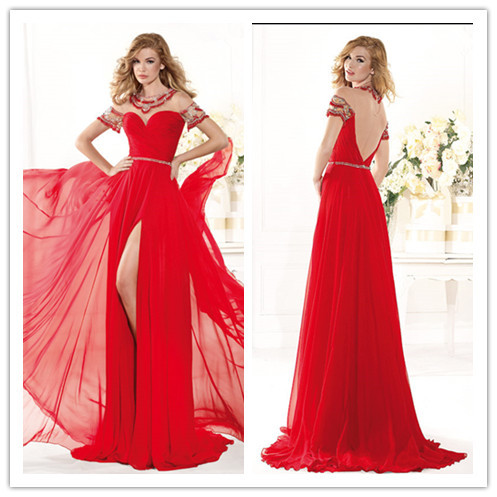 INM-250 Long Evening Dress 2015 Scoop A-line Split Side Red Short Backless Formal Evening Gown Beaded Sash Prom Party Dress