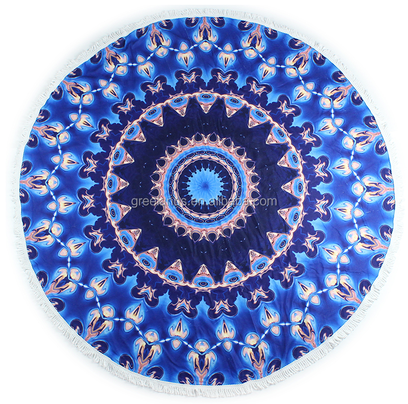 150*150 Turkish Beach Towels , Supreme Round Mandala Towel for Fitness Yoga Pool Swim Camping Beach Blanket Picnic Mat