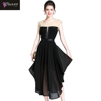 Europe and America Women Fashion Round Neck Sexy Patchwork Top Slim Waist Big Bottom Irregular Long Black Chiffon Dress