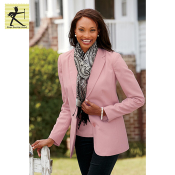 2dcd7621c2f7 China factory price latest blazer design pink pure color slim fit winter  coat women formal casual