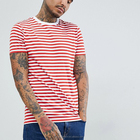 Summer fashion high quality round neck red and white stripe t-shirts for men