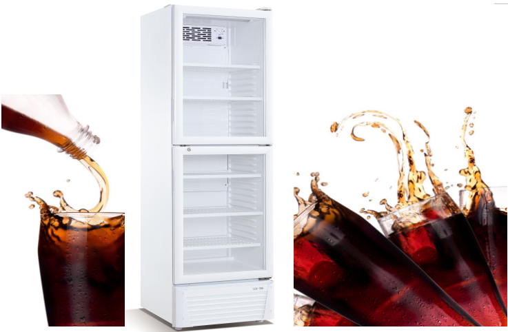 358L New Style Upright Glass Door Beverage Display Cooler With Blower Cooled Refrigerating System