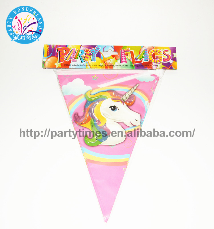 Promotional New Products Happy Birthday Pattern Decorative Pennant Flag Triangle Paper Flag Bunting banner