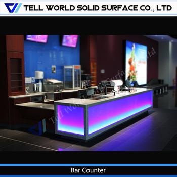 Solid Surface Modern Pub Bar Counter,Hotel Furniture Bar Counter,Led ...