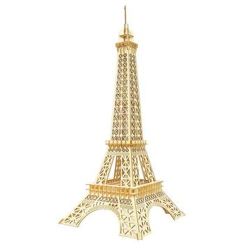 World Famous Buildings Mechanical 3-D Models, 3D Wooden Puzzles Eiffel Tower DIY Assembly Constructor Kit Toy for Teens Adults,
