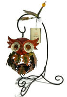 Pier One Tealight Candle Holder Owl Wide-Eyed Orange Fall Leaves