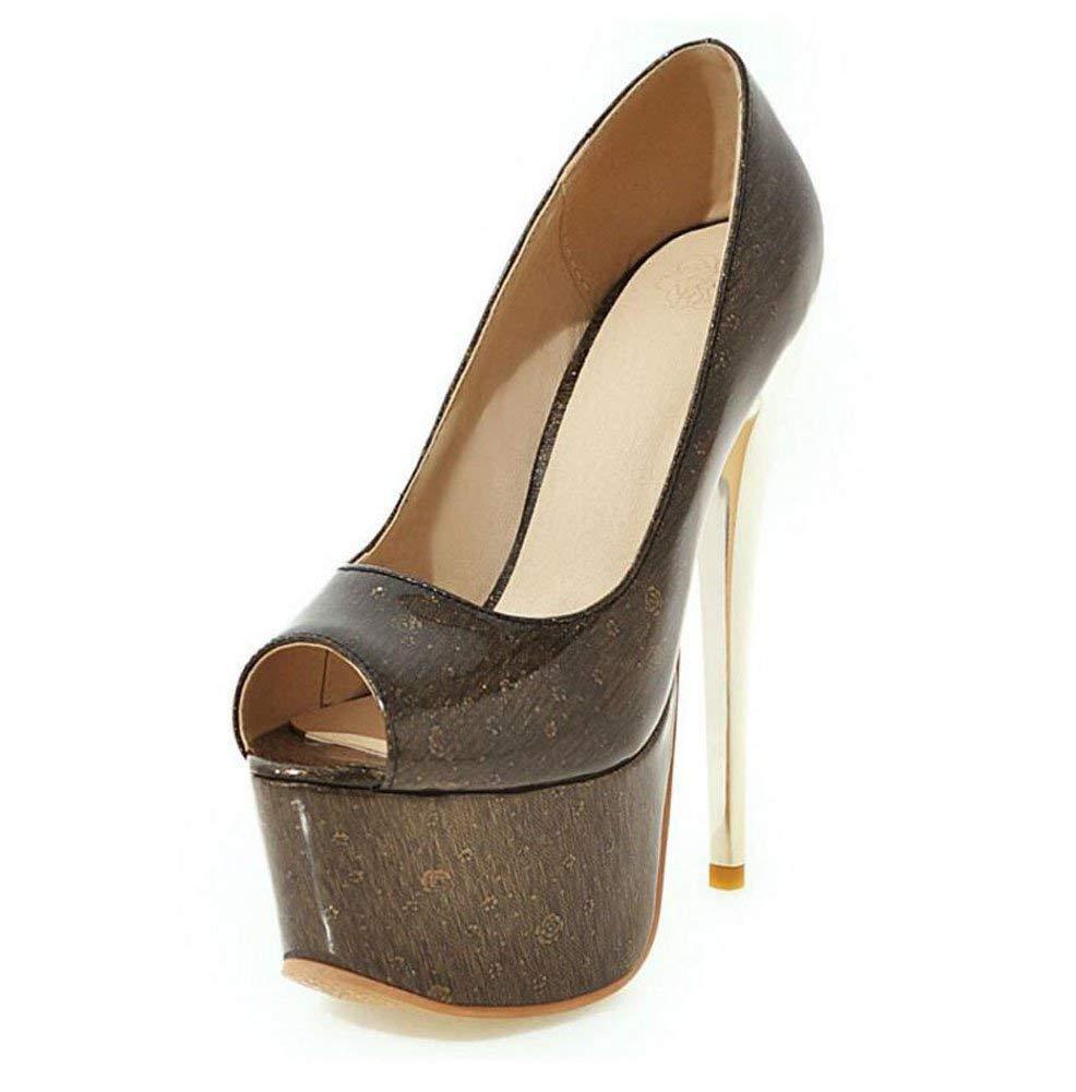 dd82b5eaefa Get Quotations · Women Pump Simple 16CM High-Heel Waterproof Platform Peep  Toe Crystal Patent Leather Sandals Tapered