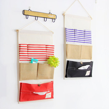 Navy stripe 6 pocket drawbag wall cotton waterproof hanging bag