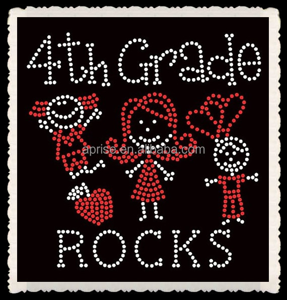 Aprise - 4th grade rocks motif iron on rhinestone transfer wholesale