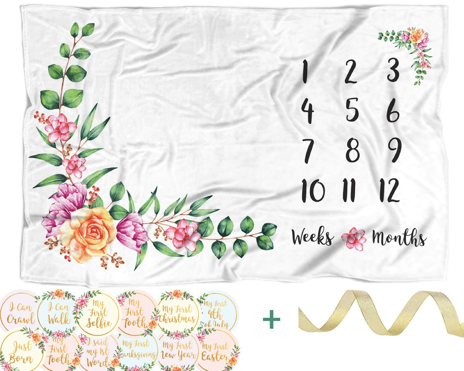 "Baby Monthly Milestone Blanket with 12 Stickers | Large 60""x40"" Month to Month Age Blankets 