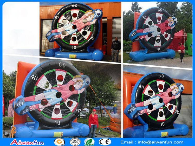 Inflatable soccer dart game board