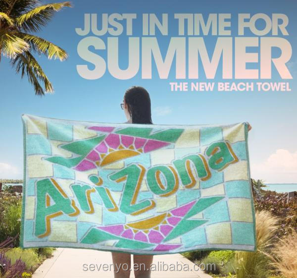 400gsm print Arizona letters checks 100cotton Beach Towel BT-032