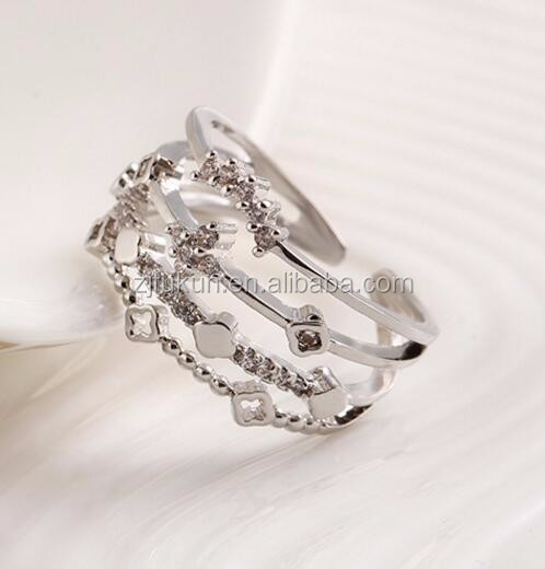 fashion adjustable zircon crystal jewelry <strong>silver</strong>/gold plated crown finger rings