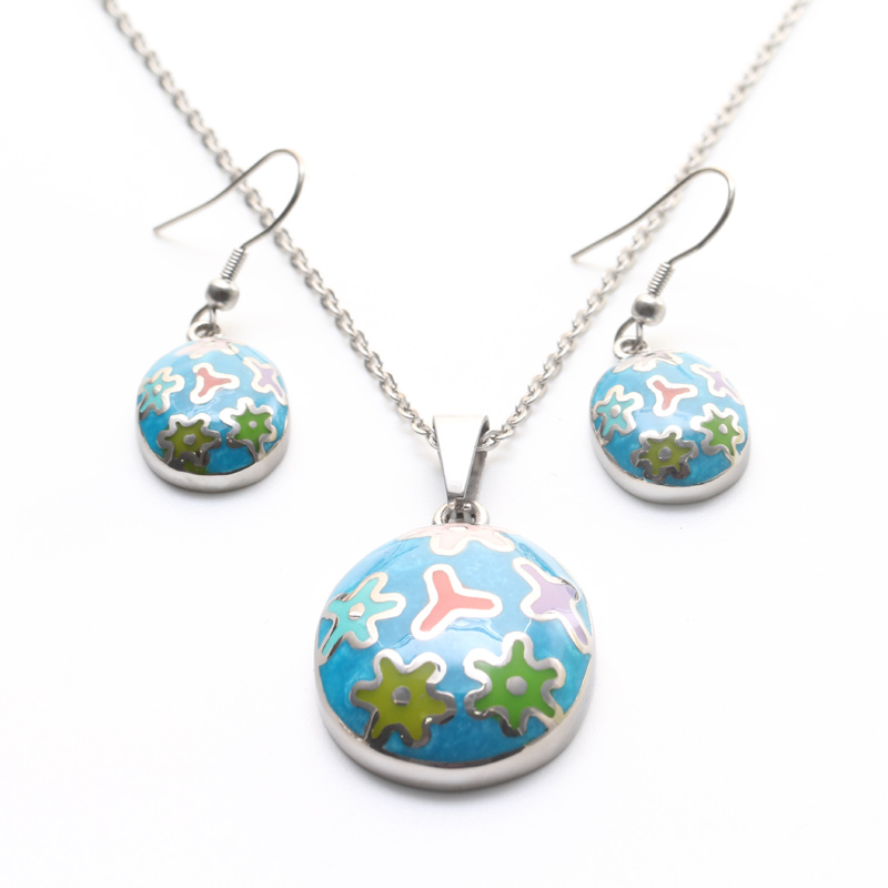 Stainless Steel Women Jewelry Sets Multi-color Enamel Pendant Necklace Dangle Earrings Sets Europe Fashion Jewelry for Women