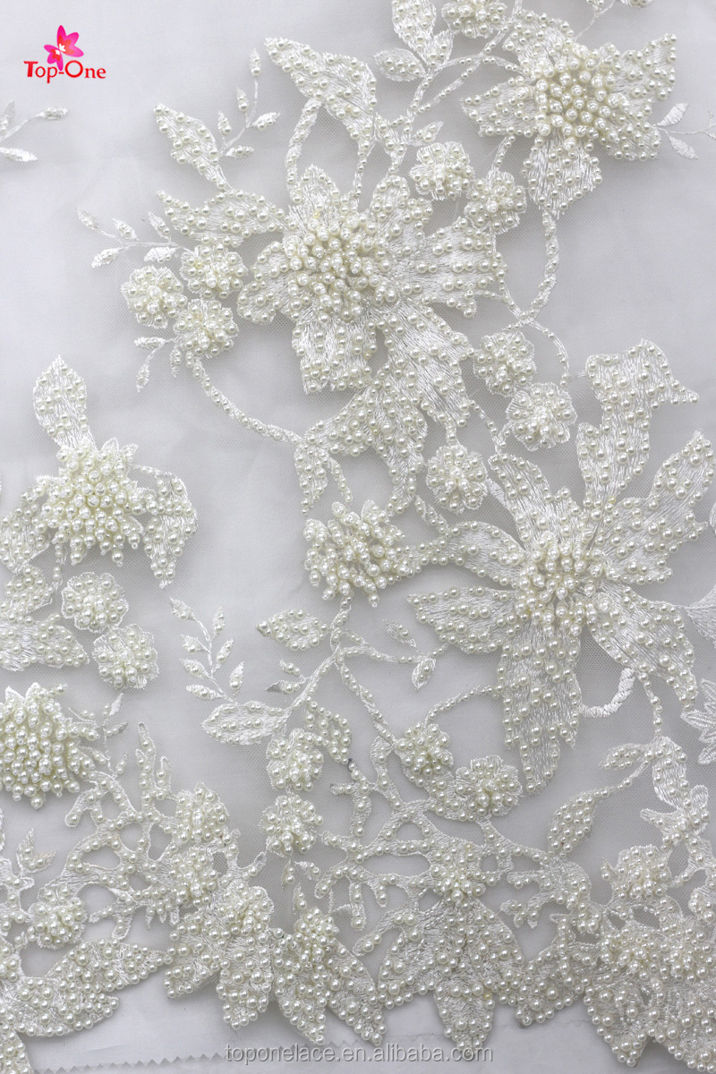 High fashion 3d lace fabric flower lace fabric of wedding dress ...