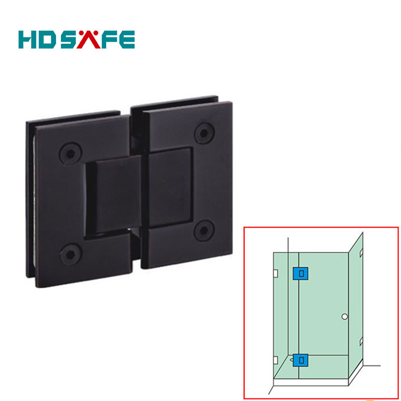 Glass to glass 180 degree black bronze finished glass shower door hinges