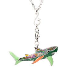 Женское эмалированное ожерелье Bonsny, массивное металлическое ожерелье с акулой подвеской в виде морских животных, модные аксессуары для дев...(Китай)