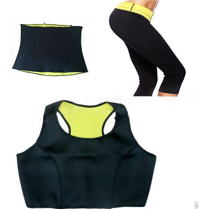 5da075bd3a Get Quotations · 2015 Super Stretch Neoprene Self-heating Three-piece Sport Vest  Waist Corset Pants Slimming