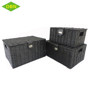 Wholesale set 3 rectangular pp woven plastic storage basket with lid