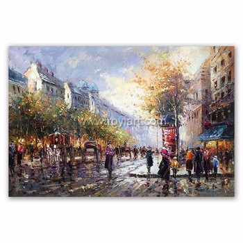 Custom wall canvas art beautiful impressionist paris street scenes oil painting