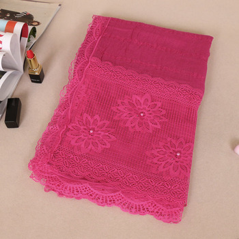 Pure cotton scarf with lace nail colorful beads shawl to easy wear for women hijab soft and light