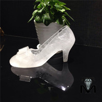 Beautiful valentine day gifts natural white crystal wedding shoes for sale