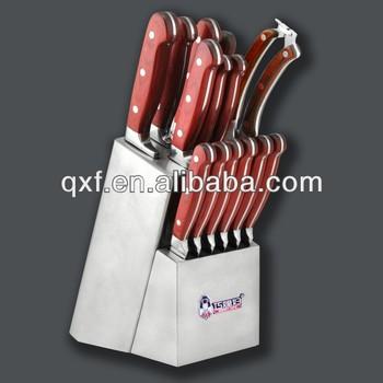 Red Wood Handle Best Steel Kitchen Knife Set
