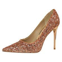 BIGTREE/женские туфли-лодочки; шикарные женские туфли-лодочки на высоком каблуке; блестящие туфли на высоком каблуке; женские пикантные свадеб...(Китай)