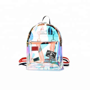 JUNYUAN Reflective Backpack Hologram Clear Transparent Holographic Bag Min Transparent PVC Backpack