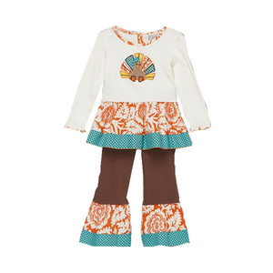 thanks giving kids clothing wholesale baby girls boutique ruffle pants outfit