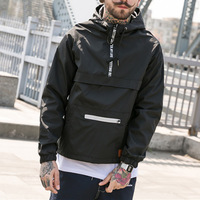Custom Men 100% Polyester Windbreaker Street Jackets Wholesale Casual Loose Fit Outdoor Jacket