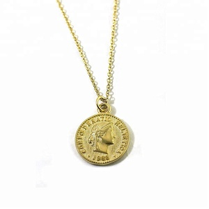 Simple Delicate Chic jewelry Fashion 925 Sterling Silver Chain Necklace Charm Gold Coin Pendent