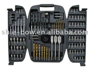 100pc drills set hand tool set in foldable plastic case