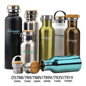 Portable Double Wall Stainless Steel Drinking Thermal Thermos Vacuum Flask With Bamboo Cap