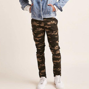 Zippered Cuff Casual Style Camo Print Skinny Trousers (JX0201822)