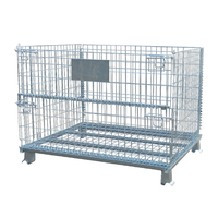 Security folding trolley warehouse storage wire mesh crate cages on wheels
