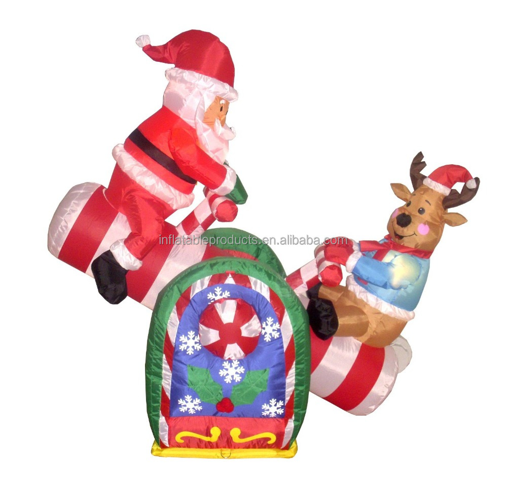 4 Foot Animated Christmas Inflatable And Reindeer On Teeter Totter Outdoor Yard Decoration Lowes Inflatables Giant