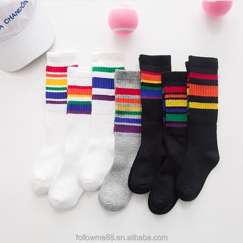 6a61f6184 Girls boys football socks striped colored rainbow knee socks cotton school  sports white long sock for