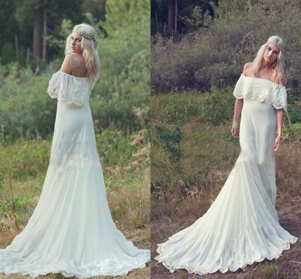 2016 Bohemian Styles A Line Cheap Wedding Dresses Hippie