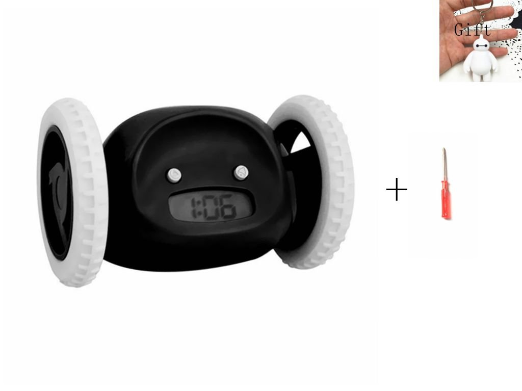 GGYY(TM) Funny Runaway Alarm Clock on Wheels Cute Alarm Clock for Heavy Sleepers/Kids/Lover/Family etc (Black)