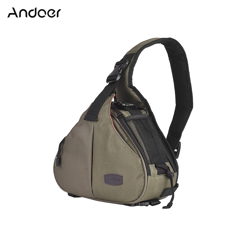 Andoer K1 Triangolo DSLR Camera Bag Cross Sling Custodia antiurto impermeabile con supporto per treppiede per Canon NikonD5113DGR