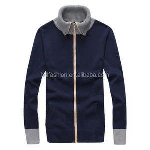 Fashion Design Long Sleeve Sweater Men Zip Cardigan