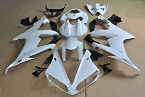 Wotefusi Brand New Motorcycle ABS Plastic Unpainted Polished Needed Injection Mold Bodywork Fairing Kit Set For Yamaha YZF R1 2004 2005 2006 White Base Color