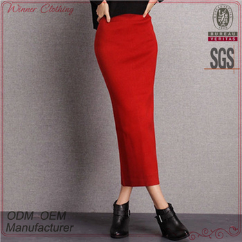 64aa1d5f8fd7 High quality knit stretchy red korean style high-waisted long pencil skirt
