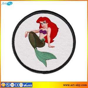 Artsky price list scissor cut border embroidered emblem embroidery appliques pattern Mermaid self-adhesion embroider patch