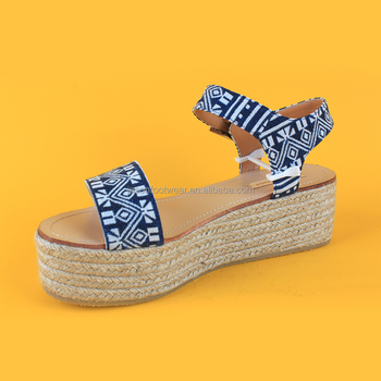 bc5158df134b7 Hot Selling Summer Woman Navy Blue Espadrille Wedges Sandals - Buy ...